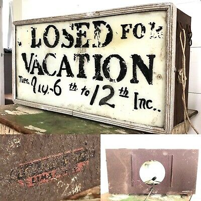 Antique VTG ORIG 1930s 1940s Lighted Painted Sign Glass Metal Neon Products Can