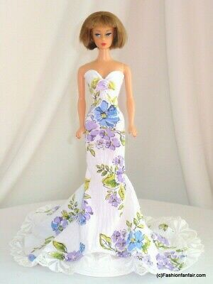 Showy Floral Gown Handmade 4 Vintage Silkstone Reproduction Barbie FR Dress 48
