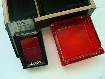 Rare! 2011 ZIPPO Lighter w Glass Ashtray Set-In Wood Case-CANDY APPLE RED-Sealed