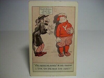 JEWISH JUDAICA RACIST FOOTBALL GAME TODAY BIG NOSE SHADOW 1900s COMIC POSTCARD