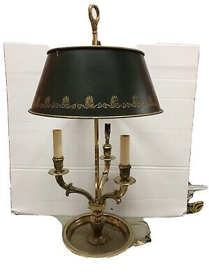 Antique Bronze French Bouilette Lamp With Painted Tole Shade