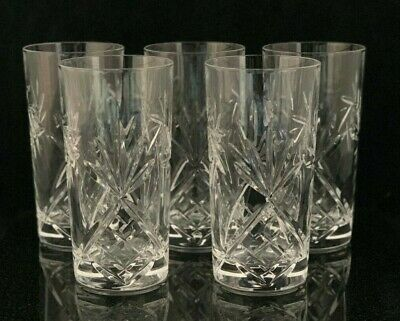 5 Cristal de Paris Crystal Highball Tumbler Glasses Pinwheel Hobstar Fan Pattern