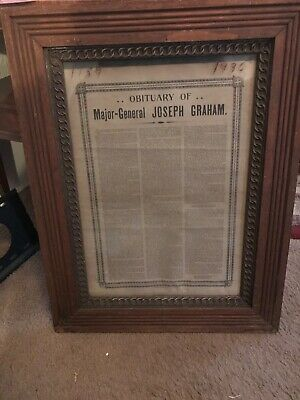 1836 Obituary of Major-General Joseph Graham in a turn of the century frame