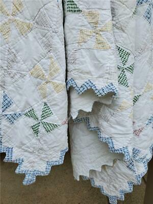 (217) LOVELY Vintage Quilt PINWHEEL SAW TOOTH EDGES PASTELS HAND QUILTED