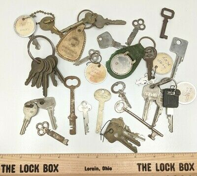 Vintage Antique Key Lot Old Furniture Lock Padlock Skeleton Barrel Cabinet Keys