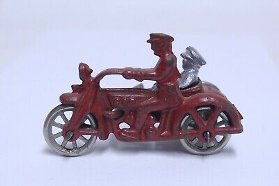 """Nice Antique Cast Iron Hubley Cop Motorcycle In Red 4"""""""