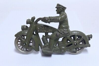 """Nice Antique Cast Iron Hubley Harley Davidson Motorcycle In Olive Green 5 1/2"""""""