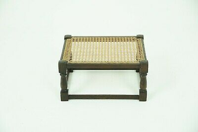 Antique Oak Foot Stool, Vintage Caned Top Bench, Scotland 1930, B1833