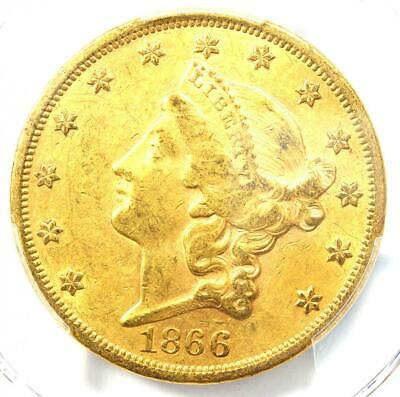 1866 Liberty Gold Double Eagle $20 Motto Coin - Certified PCGS AU Detail - Rare!