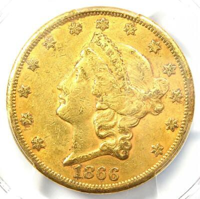 1866-S Liberty Gold Double Eagle $20 Coin - Certified PCGS AU Detail - Rare!