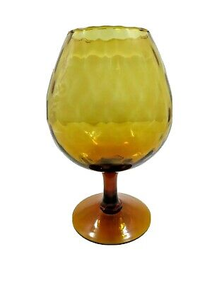 """Large Vintage EMPOLI Italian Amber Glass Snifter with Scalloped Rim 9.5"""" x 4"""""""