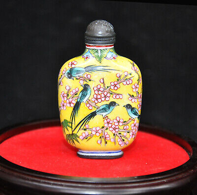 Marked Chinese Feng Shui Enamel Wucai porcelain flower bird Magpie snuff bottle