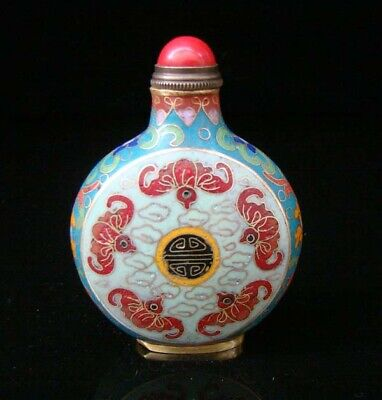 Collectibles 100% Handmade Painting Brass Cloisonne Enamel Snuff Bottles 030