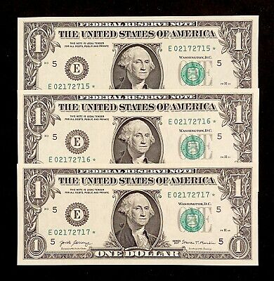 3 UNC 2017 Federal Reserve Star Notes United States Richmond Consecutive Dollar