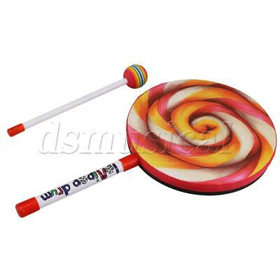 """9.8/"""" Lollipop Baby Hand Drum Musical Toys with Rainbow Color Mallet"""