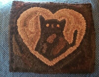 ♡  Darling Early Primitive Cat Hand Hooked Rug with heart ♡