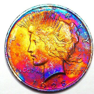 1923 Rainbow Toned Peace Silver Dollar 90% Silver $1 Coin Us #Pp72