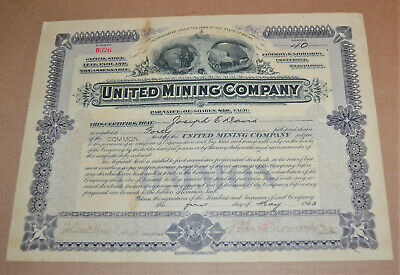 United Mining Company 1905 antique stock certificate - scam