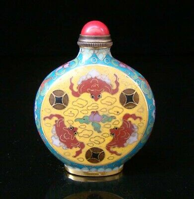 Collectibles 100% Handmade Painting Brass Cloisonne Enamel Snuff Bottles 022
