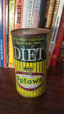 Diet Uptown 12oz Flat Top Soda Can  Graf's Milwaukee Bottom opened