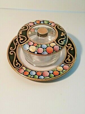 Antique ART DECO FINGER BOWL - SIGNED Lidded Jar - Heavy Enamel ~ No Damage!