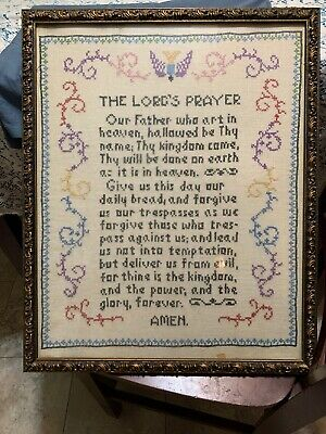 Vintage Framed W/ Glass Cross Stitch Our Father The Lords Prayer 21x 17