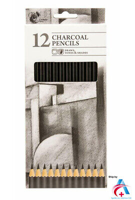 Chiltern Arts Charcoal Pencils Draws Tones & Shades-Pack Of 12