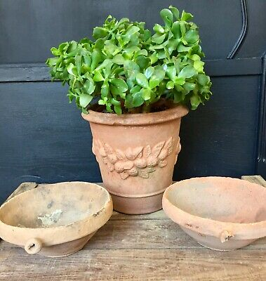 Pair of Antique French Clay Terracotta Bowls Rustic Country Farmhouse Display