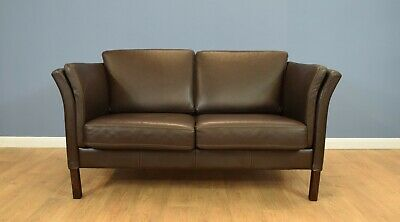 Mid Century Retro Danish Skalma Dark Brown Leather 2 Seat Sofa Settee Couch 80s