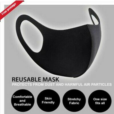 Mask Face Cover Washable Breathable Cover Virus Protective VIRUS BLACK REUSEABLE