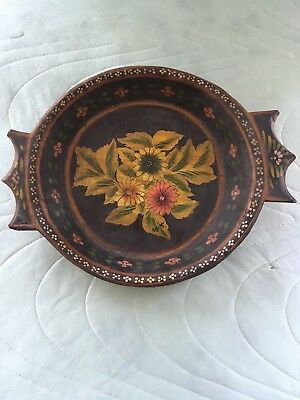 Vintage Hand Carved Hand Painted Wooden Round Dish With Beautiful Wear & Patina