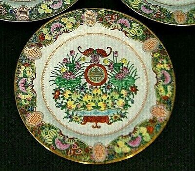 """6 HAND PAiNTED CHiNESE ZHONGGUO ZHi ZAO 10.25"""" GOLD LOTUS FLORAL DiNNER PLATES"""