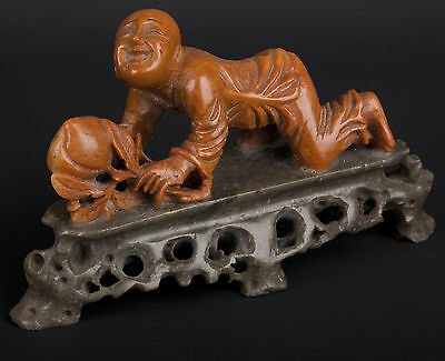 China 19. Jh Soapstone Sculpture Figurine Barn - A Chinese Carving - Chinois