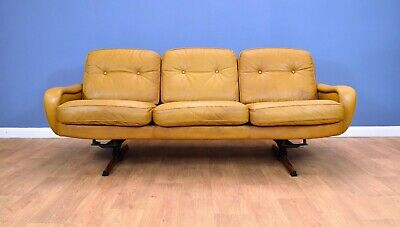 Mid Century Retro Danish Caramel Leather 3 Seat Sofa by Madsen & Schubell 1970s