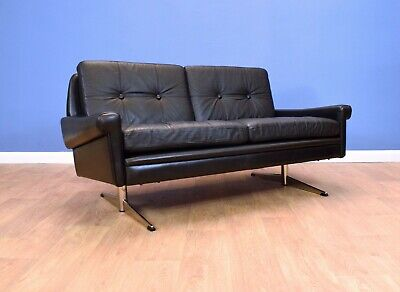 Mid Century Retro Danish Skippers Mobler Black Leather 2 Seat Sofa Settee 1960s