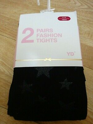 Girls Primark Black Fashion party tights with stars on 2 pairs 11-12 152cm