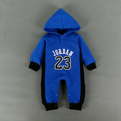 BABY JORDAN 23 ROMPER +HAT BOY GIRL BABYGROW OUTFITS CLOTHES Blue 3-6 MONTHS