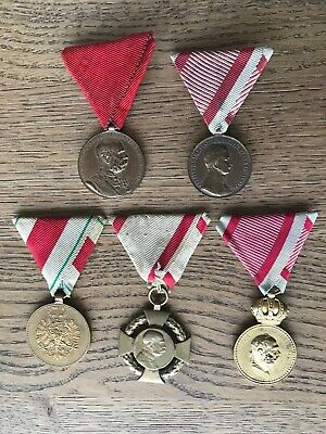 WWI Austrian 5 Medal Lot  - Five Imperial - World War One Austrian medals