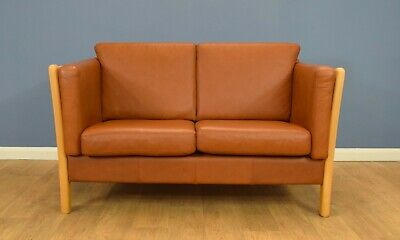 Mid Century Retro Danish Tan Leather 2 Seat Stouby Style Sofa Settee Couch 1980s