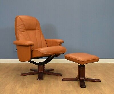 Mid Century Retro Danish Tan Leather Reclining Swivel Armchair with Footstool