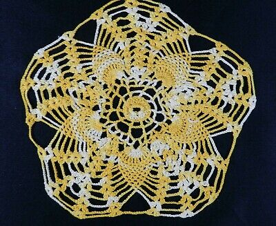 "Vintage Crocheted Doily Yellow White 10.5"" Star Shaped"