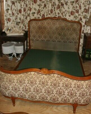 Antique French Demi Corbielle Double Bed Carved Wood Reduced for Xmas