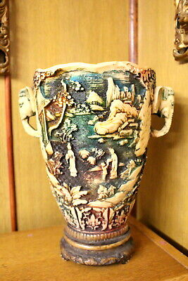 Vintage Engraved Colorful Japanese Vase With Elephant Heads Handles Resin 4 Sale