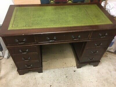 Reproduction Writing Desk Green Leather Top