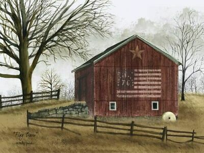 Flag Barn '76 USA Patriotic Primitive Billy Jacobs Wall Canvas Box Print 12x16