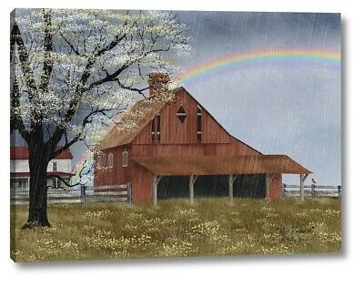 His Promise Country Red Barn Rainbow Billy Jacobs Wall Canvas Box Print 12x16