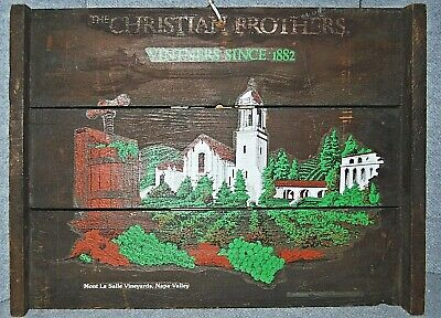 Vtg CHRISTIAN BROTHERS FROMM and SICHEL Napa Valley Wine Advertising Wooden Sign