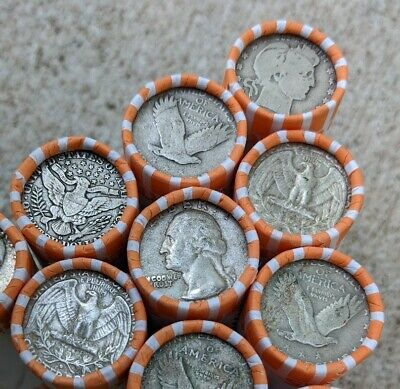 90% Silver Quarter Roll - $10 Old US Coin Lot Mixed Date PDS 40 Quarter Coins