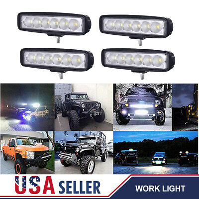 "4PCS 6"" 18W Cree LED Work Light Bar Driving Lamps Fog OffRoad SUV Car Boat Truck"