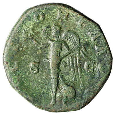 """Gordian III AE Sestertius """"VICTORIA AVG Victory, Palm Branch"""" Rome RIC 258"""